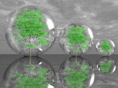 Green trees in bubbles — Stock Photo