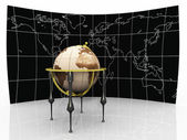 Ancient globe on map background — Stock Photo