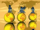 3 つの黄色の地球と女性のシルエット — ストック写真