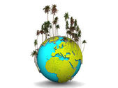 Earth with palm — Stock Photo