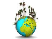 Země s palm — Stock fotografie