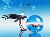 Stork Delivering baby — Stock Photo