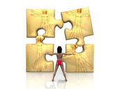 Woman with a puzzle — Stock Photo