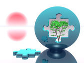 Puzzle ball with tree inside — Stock Photo