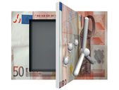 Opened steel safe with euro money — Stock Photo