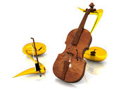 Violin with notes — Stock Photo
