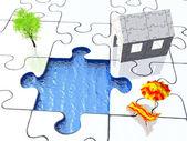 Hausgemachte puzzle — Stockfoto