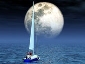 Yacht in the moonlight — Stock Photo