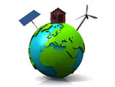 Earth with wind generator and solar panel — Stock Photo