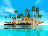 Island with palm trees in the sea — Stock Photo