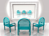 Blue chairs with reflection — Stock Photo