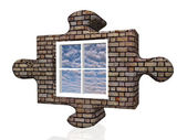 Puzzle window — Stock Photo