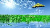 Umbrella on beach. — Stock Photo