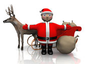 Santa Claus and deer — Stock Photo