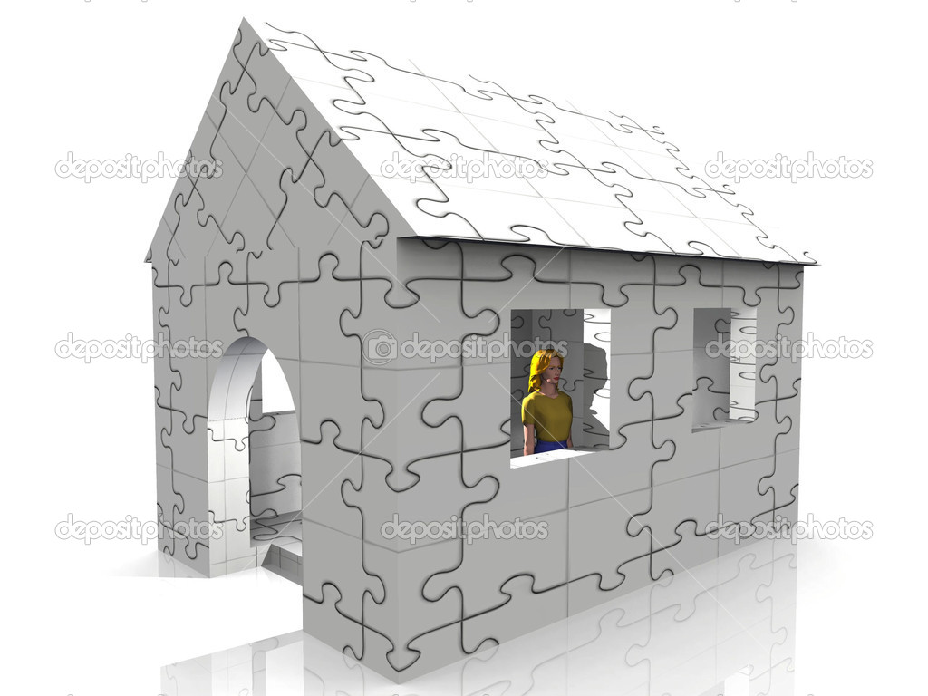 Puzzle house with blond woman — Stock Photo #6594510