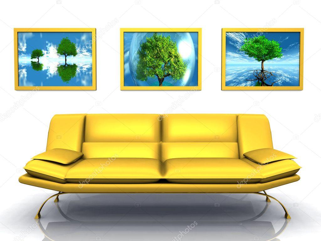 Divano giallo — Foto Stock © njaj #6597023
