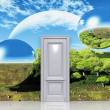 The door to a magical landscape - Stock Photo