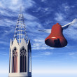 Easter bell and the church — Stock Photo