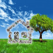 Stock Photo: House pictures in meadow
