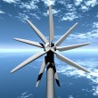 Turbine propeller on sky background — Stok Fotoğraf #6606799