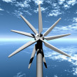Stock Photo: Turbine propeller on sky background