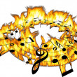 Stock Photo: Music notes on hot fire