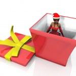 Girl in the gift box — Stock Photo