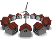 House in circles and windmill — Stock Photo