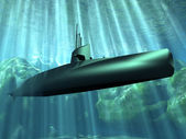 The submarine under the water — Stock Photo