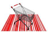 O carrinho de compras e os códigos de barras — Fotografia Stock