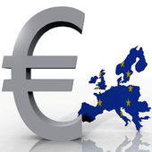 Europe and the euro symbol — Stock Photo
