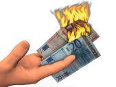 Euro banknotes of soaring — Stock Photo