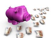 Piggy bank and euro banknotes — Stock Photo