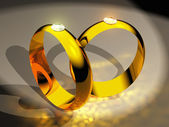 The gold rings with diamonds — Stock Photo