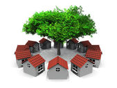 Small houses in circles and tree — Foto de Stock