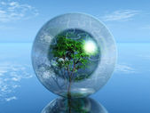 Tree in a puzzle bubble — Stock Photo