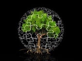 A tree in a bubble puzzle — Stock Photo