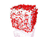 Poppies on cube — Stock Photo