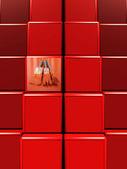 Bloco embalado pintura vermelha — Foto Stock