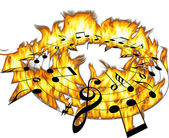 Music notes on a hot fire — Stock Photo