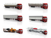 3D Render of a Fleet of Delivery Vehicles — Stock Photo
