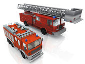3d illustration of a fire trucks — Stock Photo