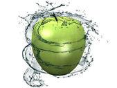Apple into water splash on white — Stock Photo
