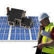 Stock Photo: Architect and solar house