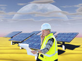 Architect and solar cell panels — Stock Photo