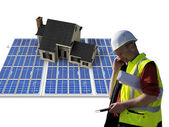 Architect and solar house — Stock Photo