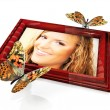 The women in the frame and butterfly — Stock Photo