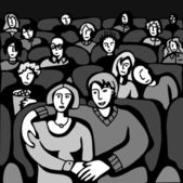 In Cinema. — Stock Vector