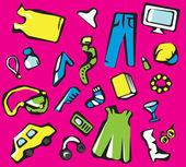 Women shopping objects — Stock Vector