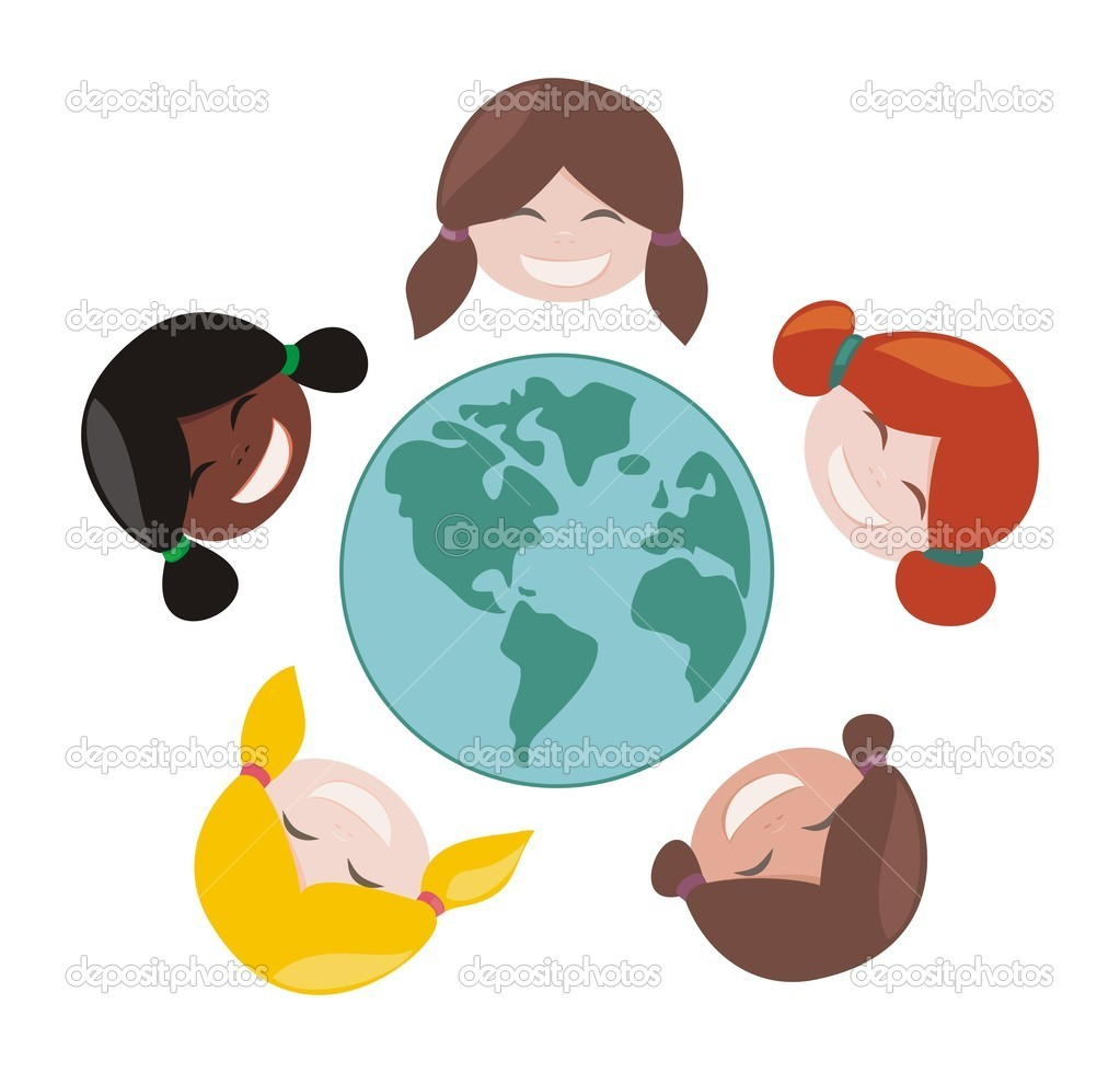 Happy, smiling multicultural girls group around the world. Vector illustration isolated on white background with laughing faces around planet earth illustration  Stock Vector #6576231